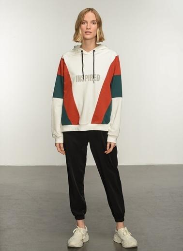 People By Fabrika PFKAW21SW0039 Renk Bloklu Baskılı Sweatshirt Ekru